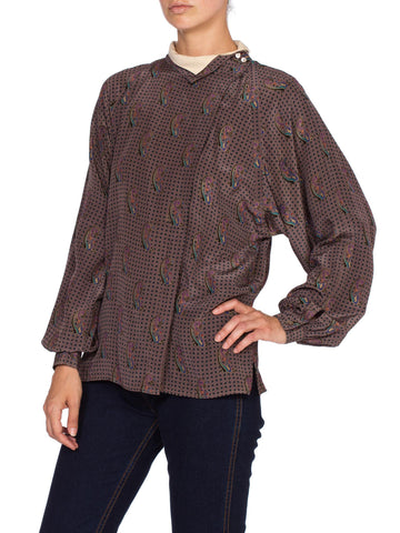 1970'S Gucci Paisley Silk Blouse With Metallic Gold Print Top