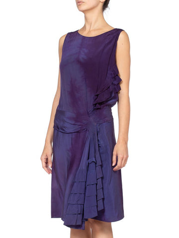 1920's Draped Ruffle Silk Flapper Dress