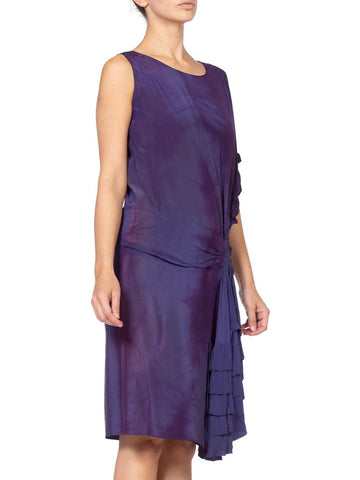 1920'S Purple Silk Draped Ruffle Flapper Cocktail Dress