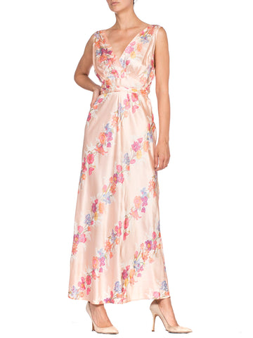 1930's Bias Cut Satin Floral Negligee Slip Dress