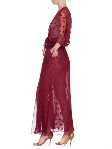 Morphew Collection Burgundy Silk Chiffon Fil Coupe Tie Front Duster Top Made From 70'S Sheer Dress