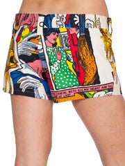 1990S White Cotton Denim Pop-Art Roy Lichtenstein Comic Printed Shorts