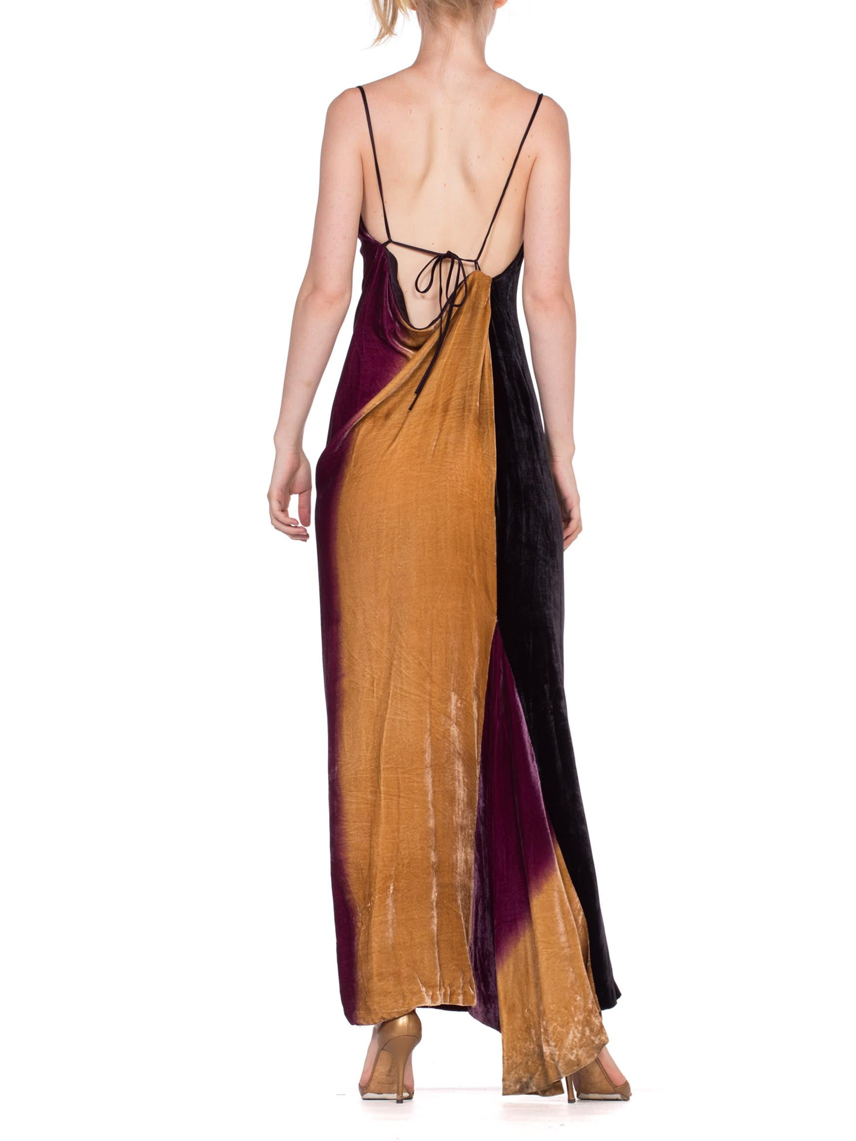 1990's Ombré Tie Dye Silk Rayon Velvet Bias Cut Backless Gown