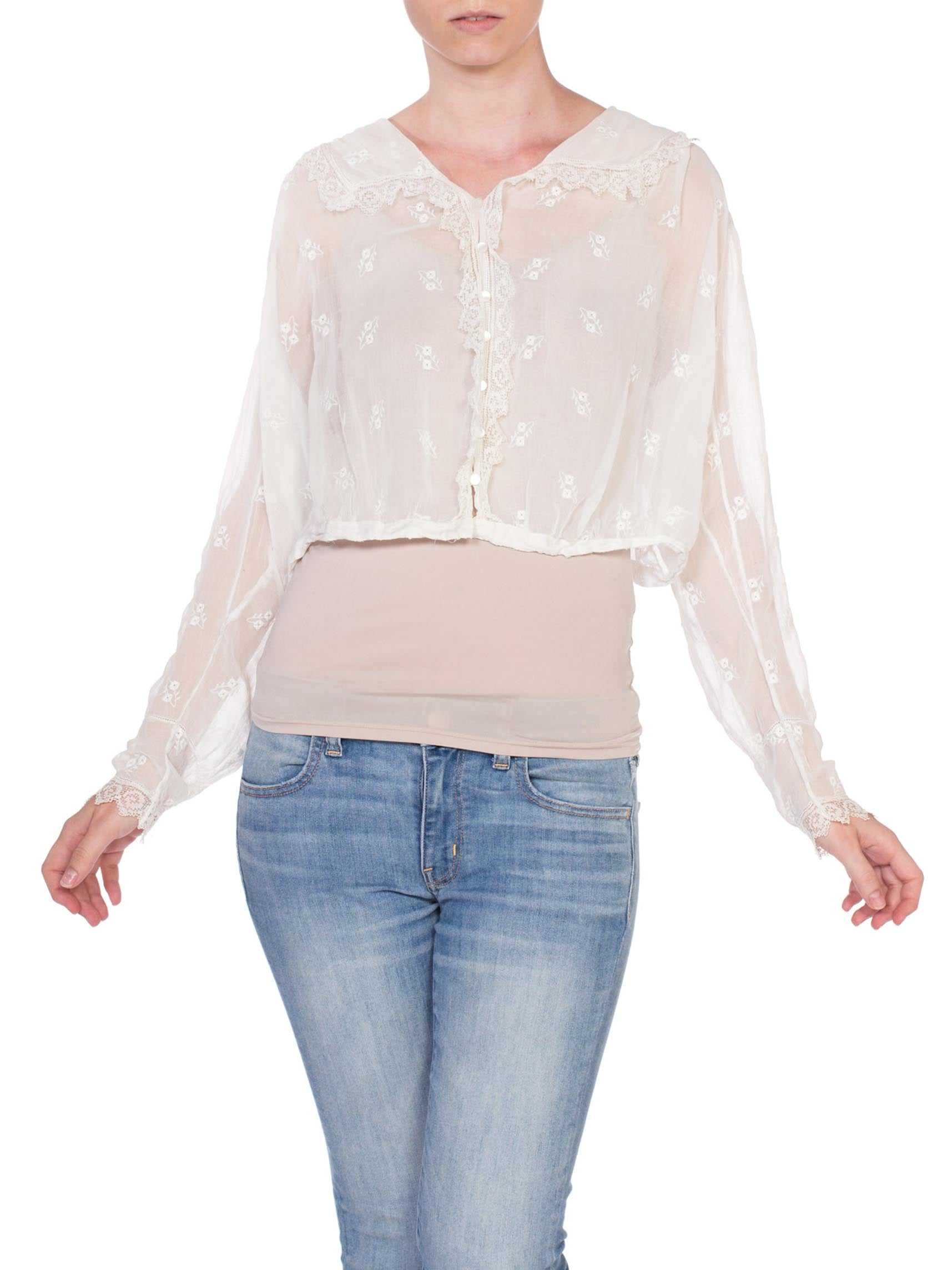 Edwardian White Cotton Voile Floral Embroidered Button Front Suffragette Blouse With Lace Trim XL