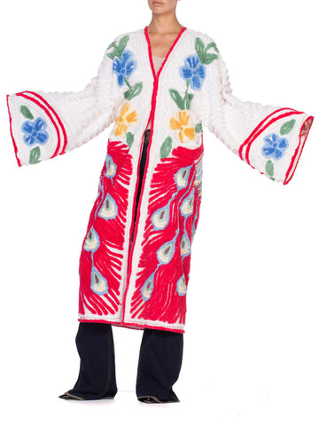 Morphew Collection White Red  Cotton Chenille Peacock Beach Coat Duster