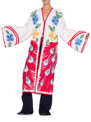 1960'S Morphew Collection White Red  Cotton Chenille Peacock Beach Coat Duster