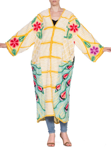 Morphew Lab Chenille Peacock Yellow Kimono Beach Robe