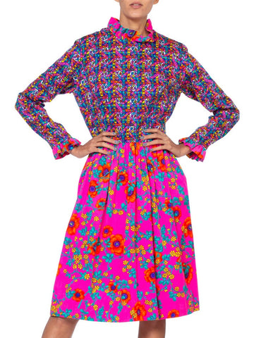 1960'S Lilly Pulitzer Hot Pink Floral Cotton Long Sleeve Mod Dress With Ruffle Details