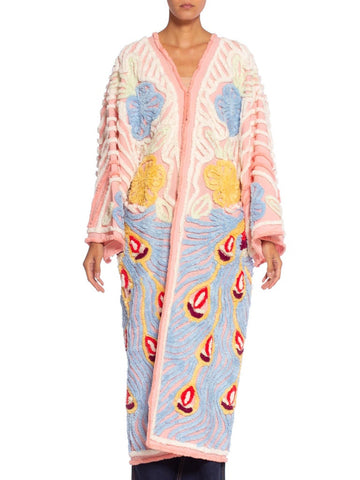 Morphew Collection 1940's Chenille Peacock Kimono Beach Robe