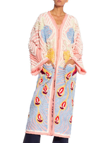 Pink & Blue Cotton Chenille Peacock Beach Coat Duster