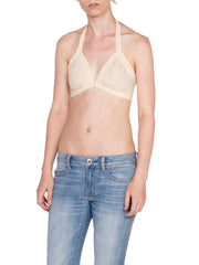 1970's Handwoven Organic Cotton Cream Bra Top