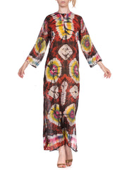 1970's Tie Dyed & Hand Embroidered Cotton Dress From India