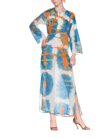 1970'S Blue & White Orange Cotton Tie Dye Kaftan Dress