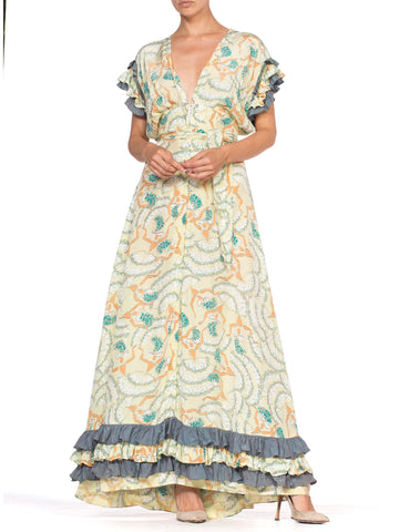 1940's Can-Can Dancer Novelty Print Cold Rayon Gown With Ruffles