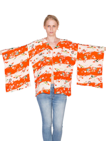 1940'S Orange & White Silk Japanese Short Kimono Jacket