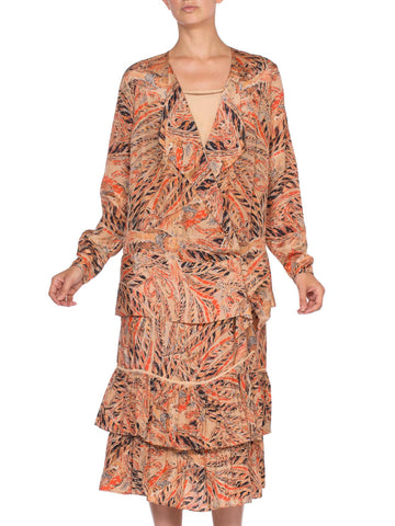 1920's Silk Ruffled Dress With Rare Pheasant Bird Feather Print