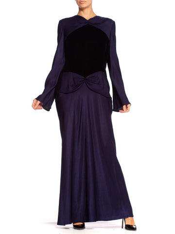 1980'S BILL BLASS Navy Blue Haute Couture Silk Crepe Back Satin Sleeved Gown With A Black Velvet Bodice