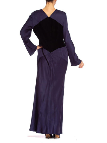 1980'S Does 1930'S Bill Blass Bias Silk & Velvet Gown With Sleeves, Lined