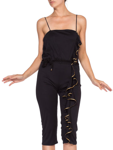 1970'S Jersey Gold Ruffle Disco Queen  Jumpsuit