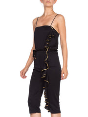 1970's Gold Ruffle Disco Queen Jumpsuit