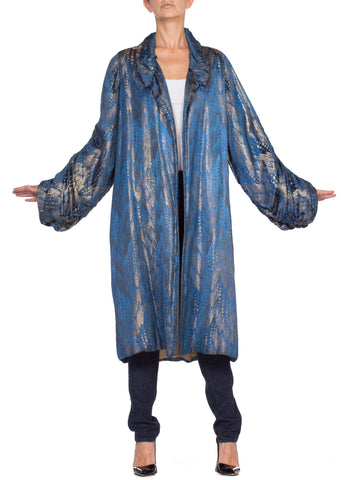 1920's Art Deco Silver Lamé Blue Silk Coat