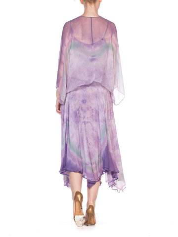 1970'S Lilac Silk Chiffon Watercolor Ombré Tie Dye Skirt & Cami Ensemble With Jacket