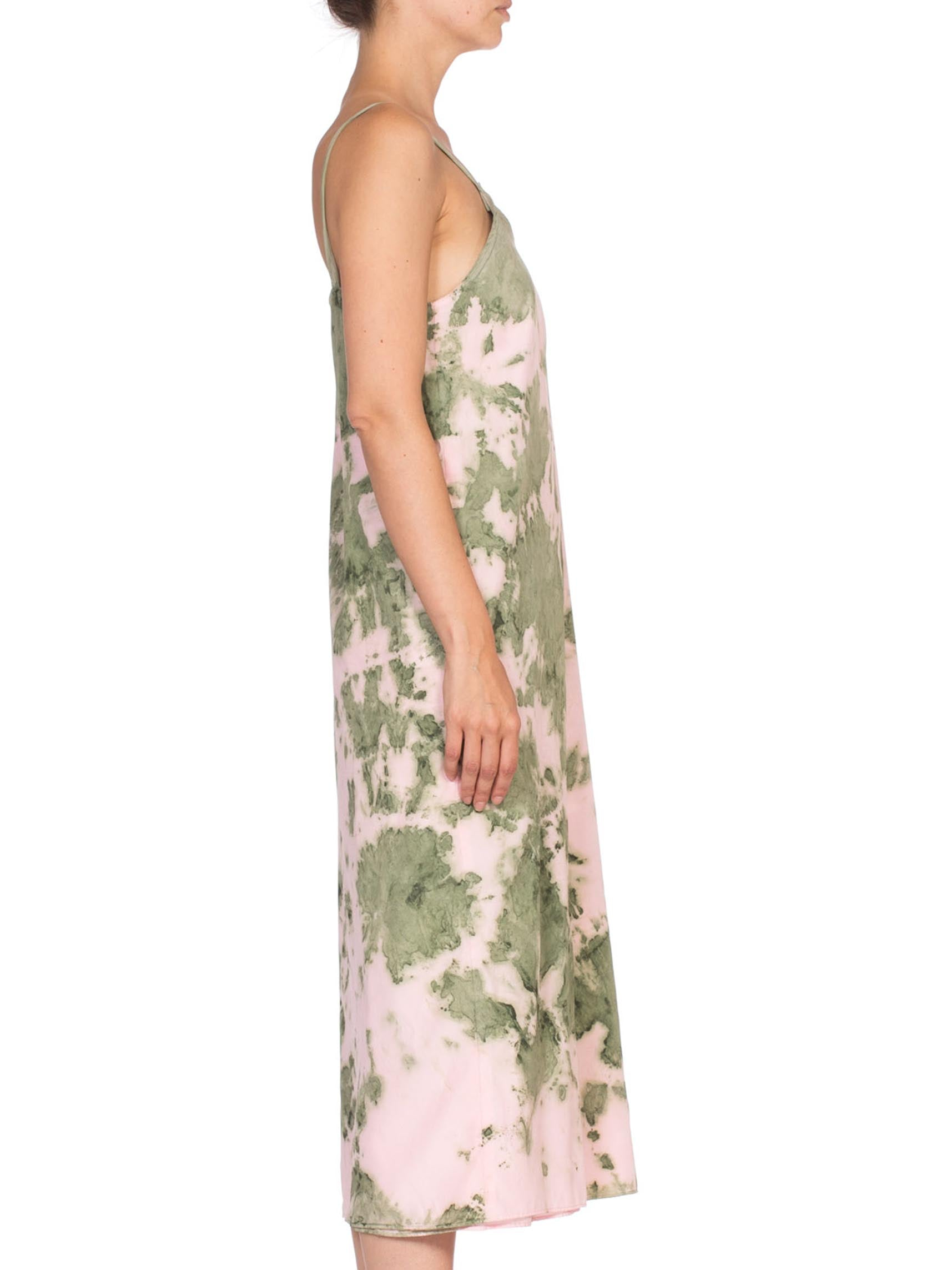 1970'S Baby Pink & Green Silk Crepe De Chine Tie Dye Slip Dress