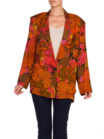 1980's Tropical Rayon Lightweight Blazer