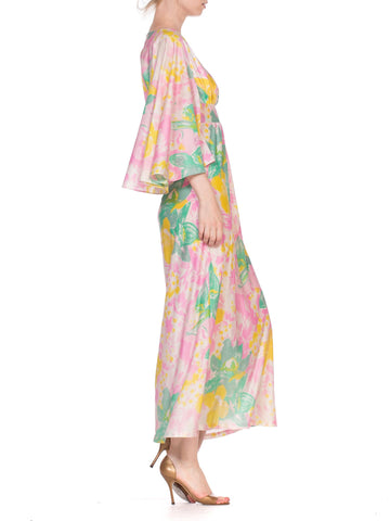 1970'S Flowy Jersey Maxi Dress With Cape Sleeves