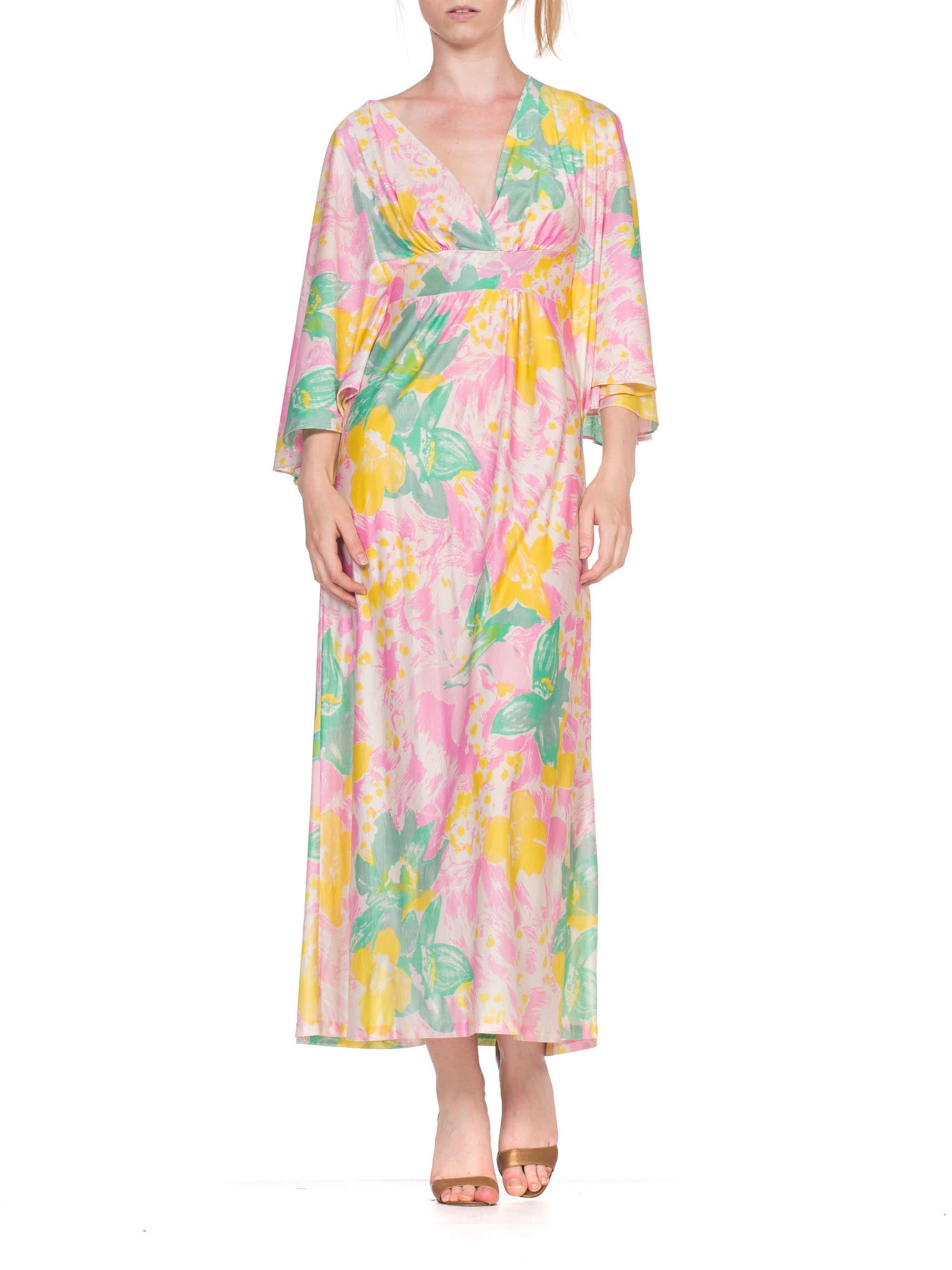 1970'S Baby Pink Floral Acetate Tricot Jersey Flowy Maxi Dress Cape Sleeve Kaftan