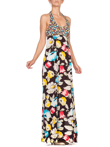 1970'S Floral Printed Polyester Jersey Halter Maxi Dress
