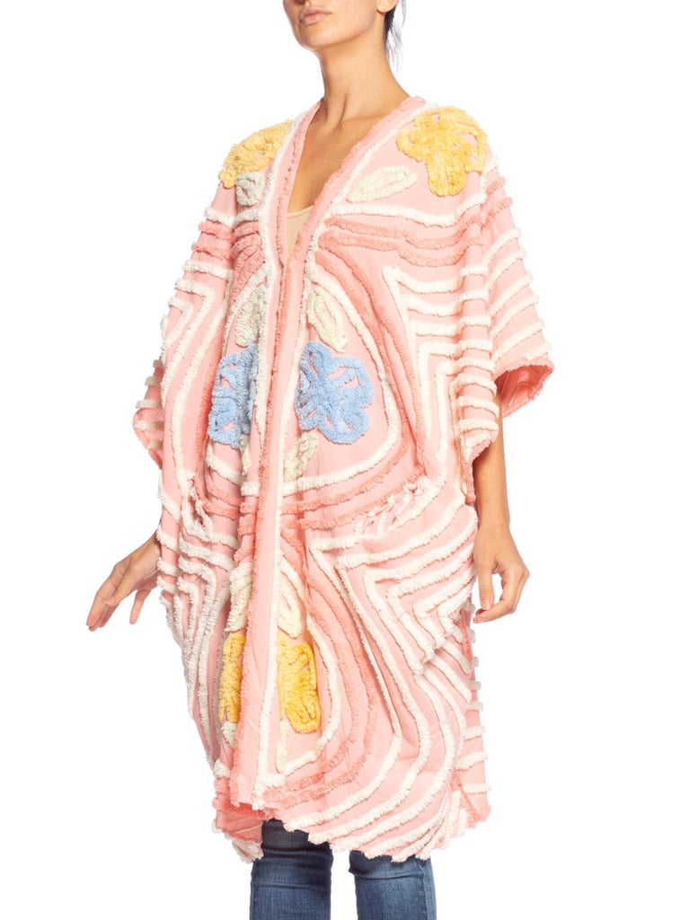 MORPHEW COLLECTION Chenille Pink Beach Cocoon  Kaftan