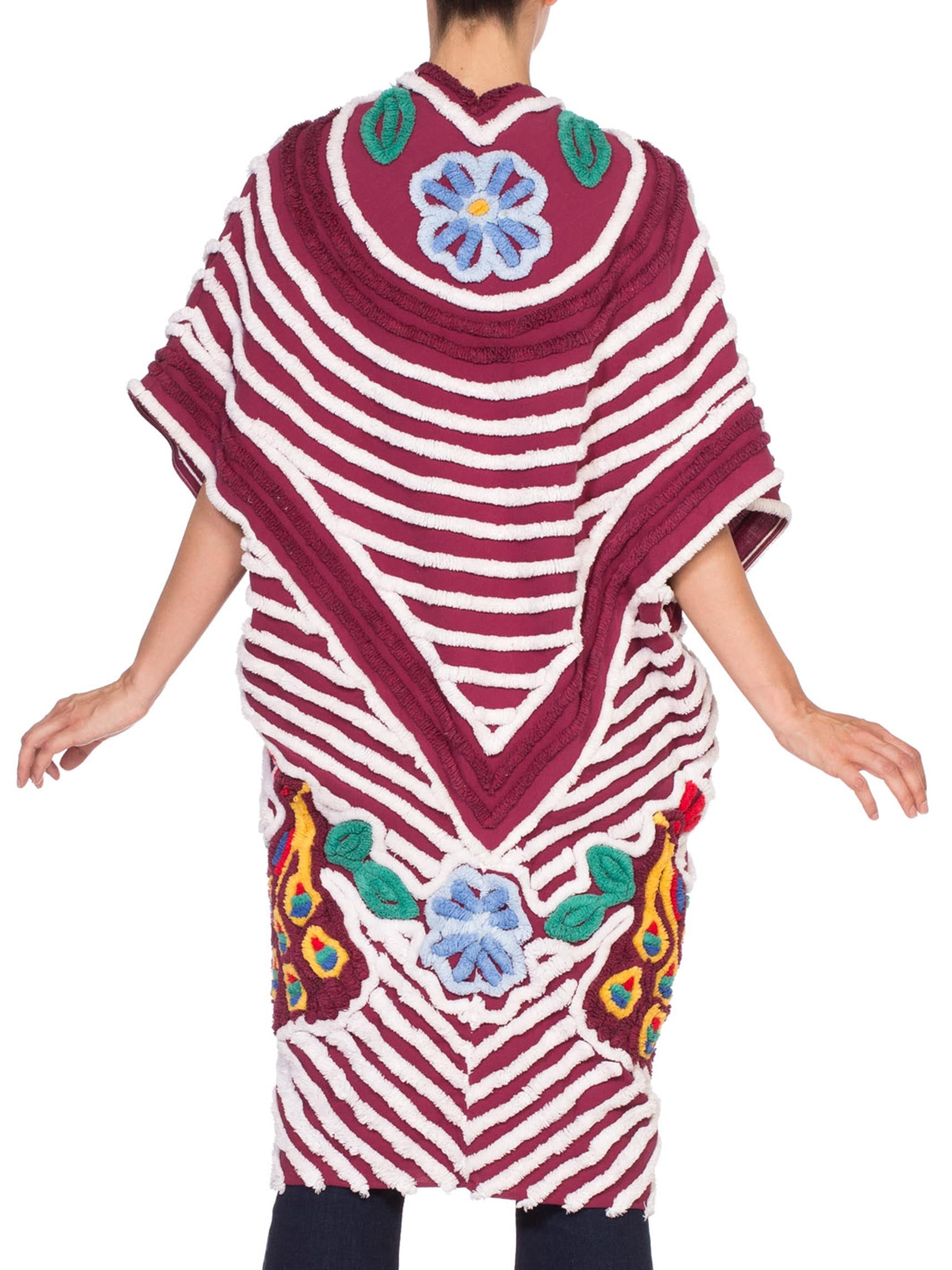 Morphew Collection Maroon & White Cotton Chenille Beach Coat Cocoon With Little Peacocks
