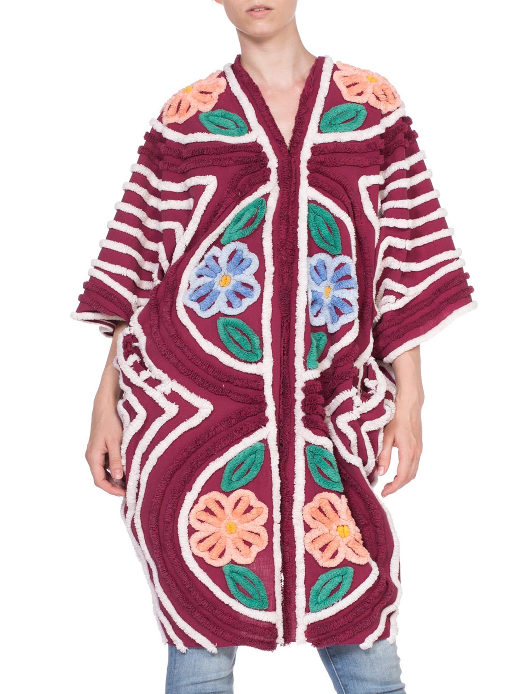 Maroon Floral Cotton Chenille Beach Cocoon