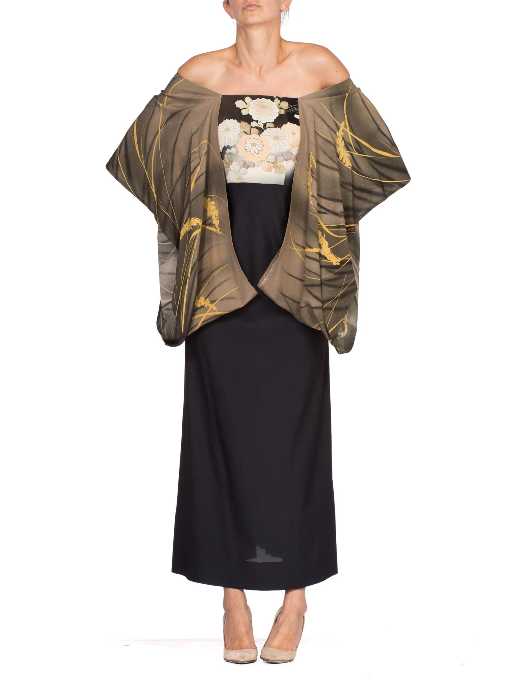 1970'S Black Polyester Dress With Hand Painted Japanese Kimono Sleeves