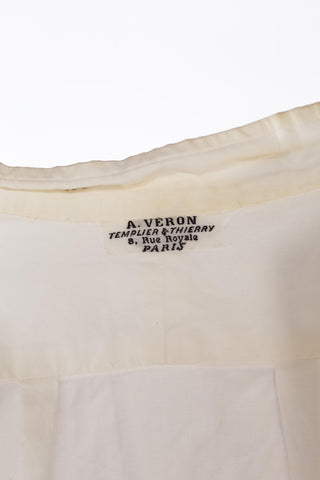 1920'S White Organic Cotton Men's Bespoke Shirt By A. Veron, Paris