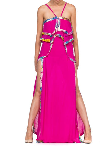 Roberto Cavalli Double Slit Pink Bias Silk Scarf Dress