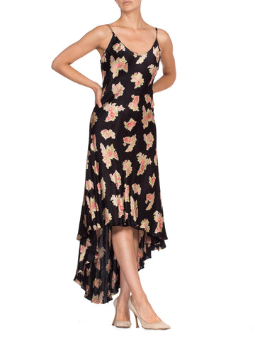 1990'S BETSEY JOHNSON Bias Cut High-Low Floral Rose Slip Dress