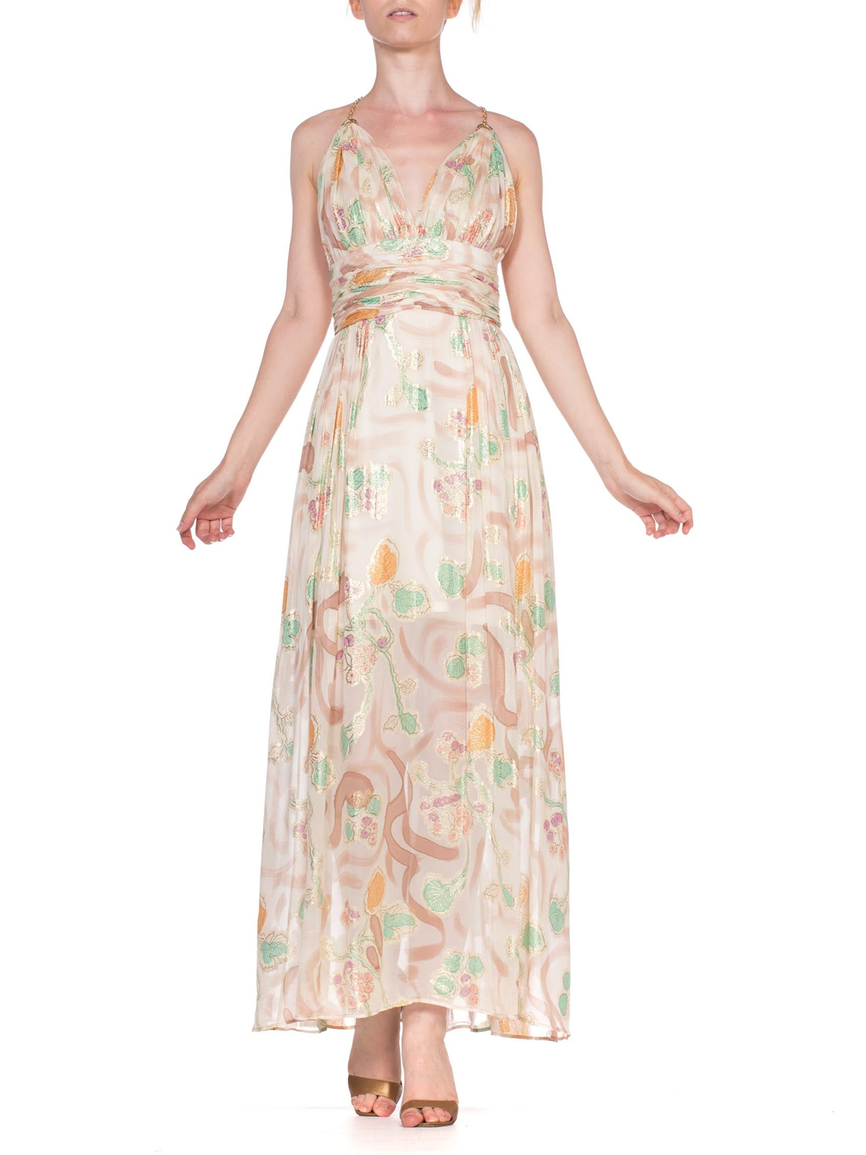 MORPHEW COLLECTION Hand Painted Silk Lurex Fil Coupé  Chiffon Gown With Gold Chain Straps