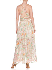 Morphew Collection Hand Painted Silk Chiffon & Gold Chain Dress