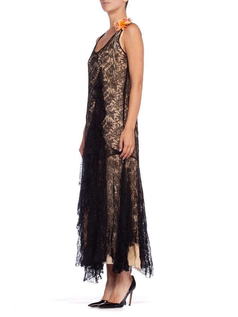 1920S Black Silk Chantilly Lace  Flowy Cocktail Dress With Original Slip And Flower Corsage