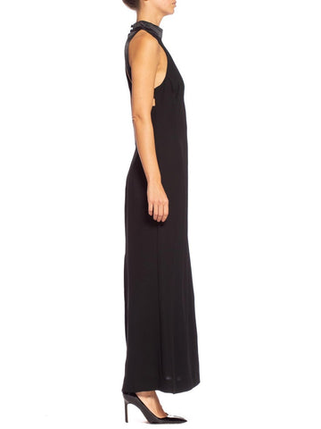 1990S Black Polyester Crepe Minimal Satin Detailed Cut Out Back Gown Made In France