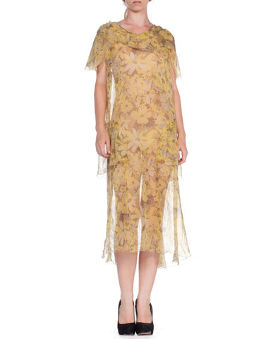 1920's Boho Floral Sheer Yellow Chiffon Printed Dress