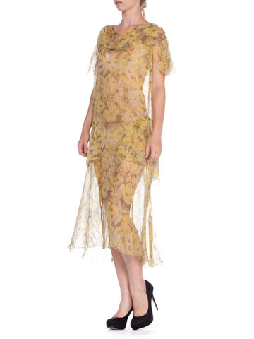 1920'S Yellow & Grey Floral Silk Chiffon Pullover Cape Sleeve Drop Waist Dress
