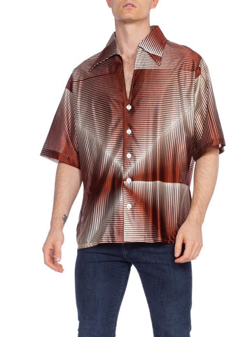 1970'S Brown Geometric Acetate Men's Disco Shirt Xl