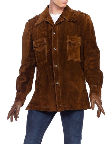 1970's Mens Spanish Suede Leather Car Coat Jacket
