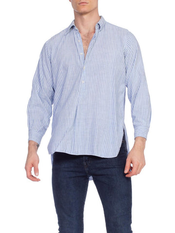 1920/30's Mens Organic Blue Striped Linen Shirt