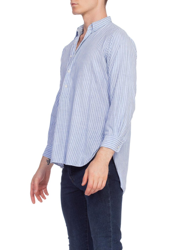1930S Blue Linen Men's Striped Popover Shirt