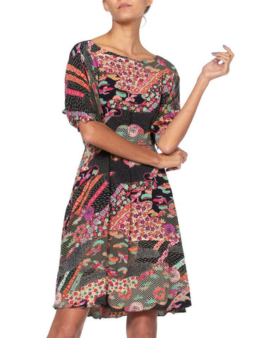 1970'S Rayon Asian Japanese Floral Printed Dress