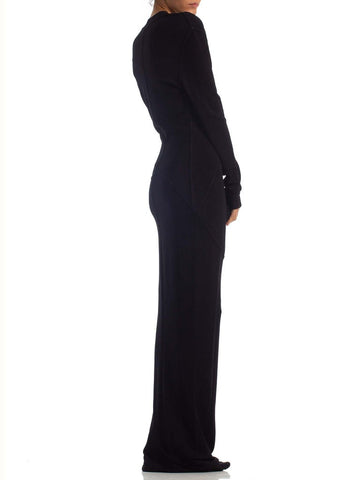 1980S AZZEDINE ALAIA Black Rayon Blend Jersey Extra Long Low Cut Gown With Sleeves